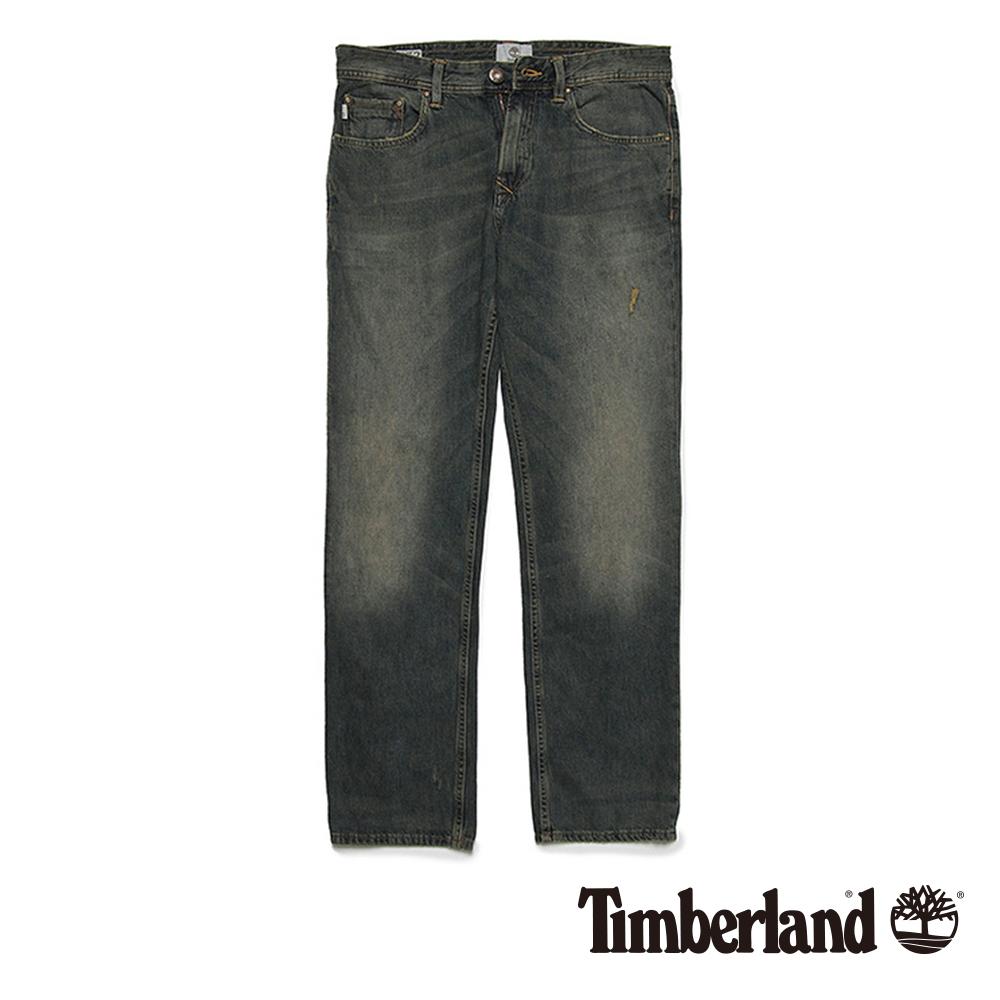 Timberland 男款午夜藍微破壞直筒牛仔長褲