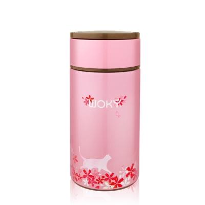 WOKY沃廚 櫻花限定版-316不鏽鋼真空悶燒食物罐1000ML(附贈304摺疊匙)