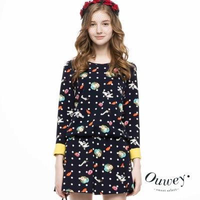OUWEY歐薇-童話圖案普普風袖口撞色洋裝-藍