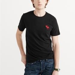A&F 經典刺繡大麋鹿圓領素色短袖T恤-黑色 AF Abercrombie