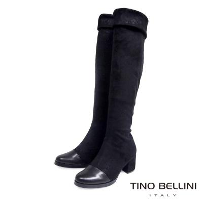 Tino Bellini 羊皮拼接彈力絨2穿中跟過膝靴_黑