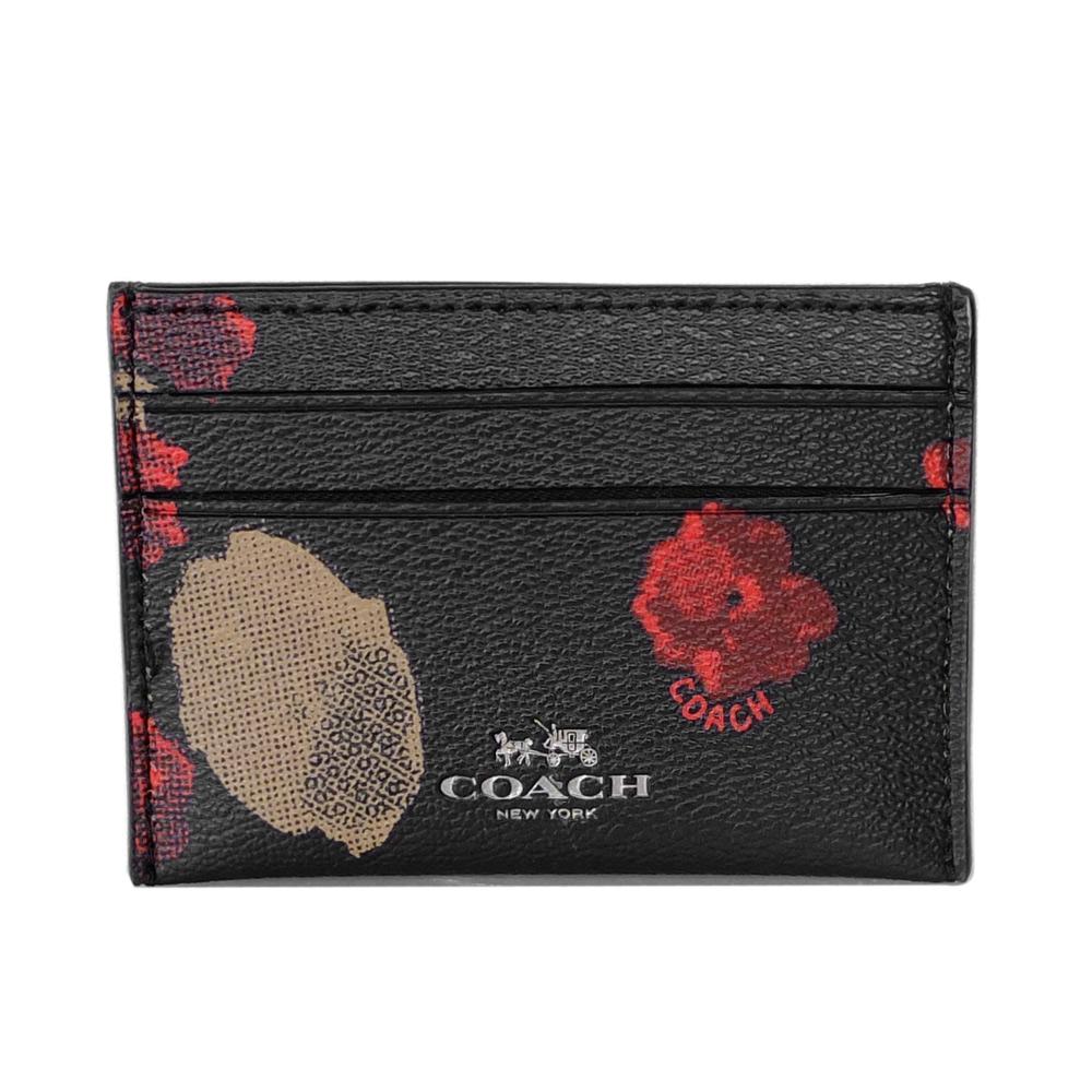 COACH黑底紅棕花繪圖紋雙面名片/票卡夾