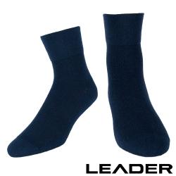 LEADER 除臭去味 紳士素面短筒寬口襪 深藍 - 快速到貨