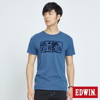 EDWIN 衝浪植絨印花T恤-男-灰藍