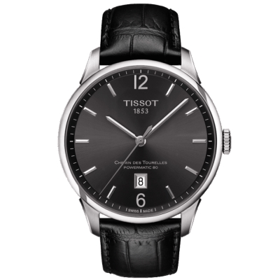 TISSOT 天梭 杜魯爾動力80 現代風格機械腕錶-黑/42mm
