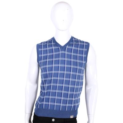 TRUSSARDI-JEANS 藍色格紋V領針織背心