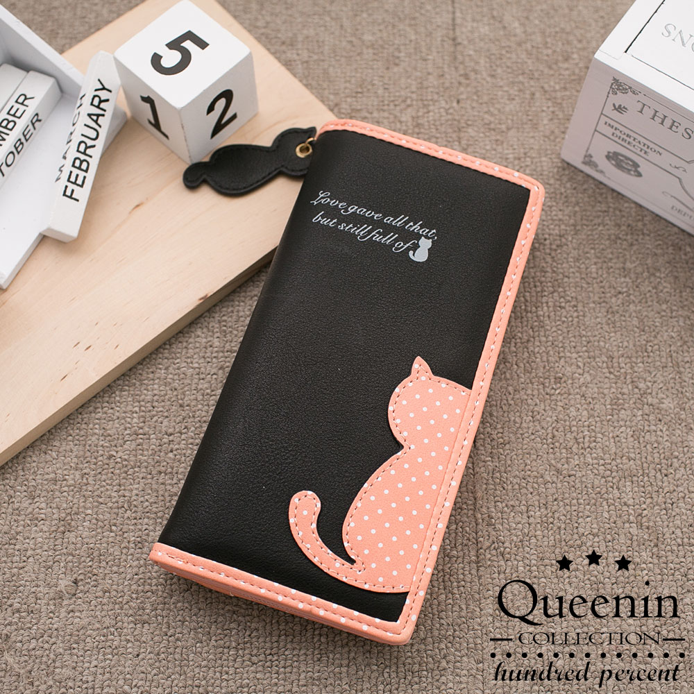 DF Queenin皮夾 - 繽紛糖果系貓背影拉鍊長夾-粉黑