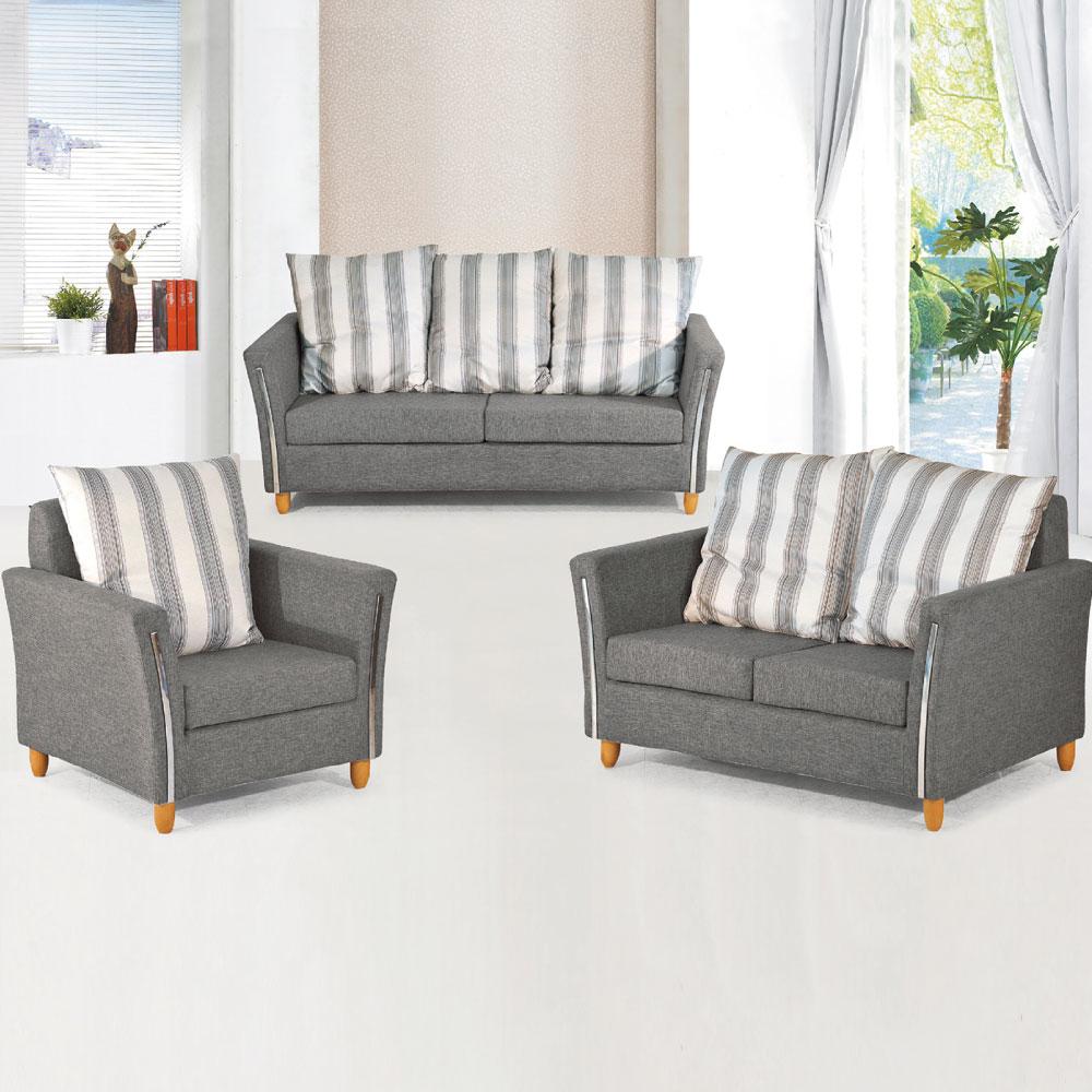 品家居 多蒂布面沙發組合(1+2+3人座)兩色可選-免組