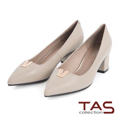 TAS-金屬V字羊皮尖頭高跟鞋-知性米