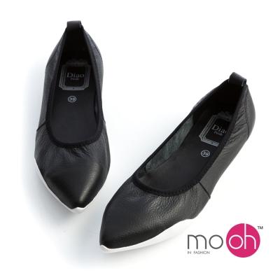 mo.oh 全真皮-黑白拚色運動風尖頭平底鞋娃娃鞋
