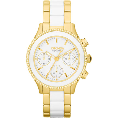 DKNY 典雅風尚晶鑽陶瓷三環計時腕錶-白x金框/38mm