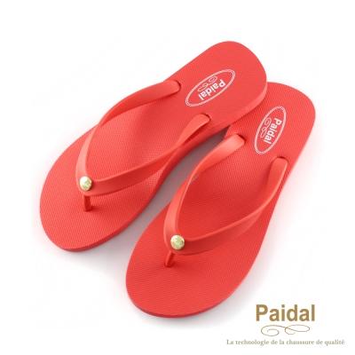 Paidal 素色女足弓款海灘拖鞋夾腳拖鞋-紅