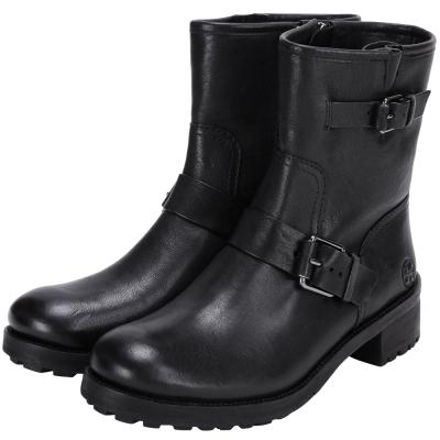TORY BURCH Chrystie 雙釦帶設計短筒靴(黑色)