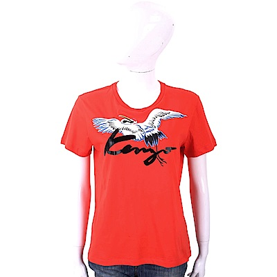 KENZO Crane 草寫字母紅色鶴鳥圖騰棉質T恤