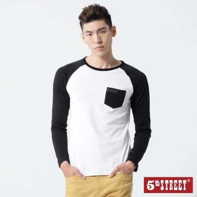 5th STREET 簡約印花拉克蘭袖T恤-男-白色