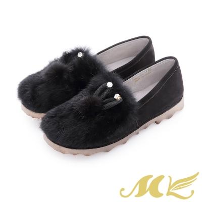 MK-夢幻森林-小兔子水鑽絨毛平底懶人鞋-黑色
