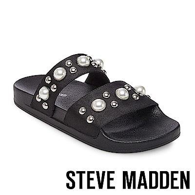 STEVE MADDEN-POLITE 珍珠鉚釘鑲嵌二字帶厚底拖-黑色