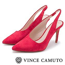 Vince Camuto 素面麂皮繞後跟尖頭高跟鞋-紅色