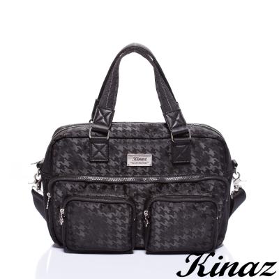 KINAZ-navy-潮男日記兩用斜背包-黯黑千鳥格系列-特賣品