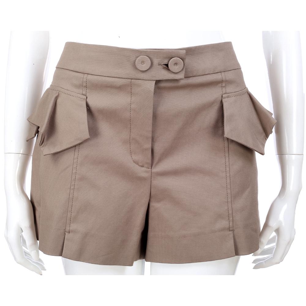 SCERVINO 淺咖色荷葉造型裝飾短褲