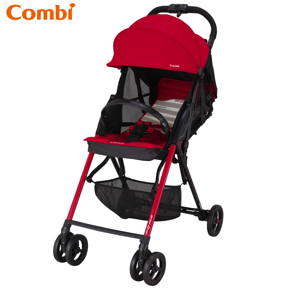 Combi F2 Plus AF超輕靚單向手推車-搖滾紅
