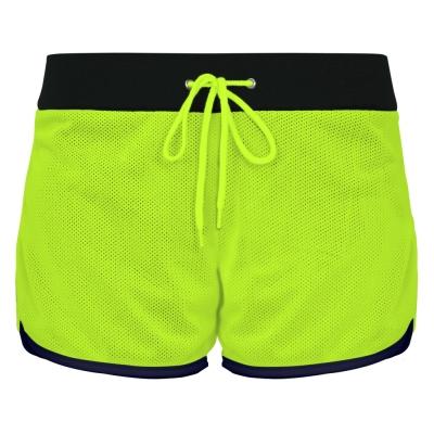 NCAA-女性-雙面穿-顯瘦-運動短褲-黑-螢光黃