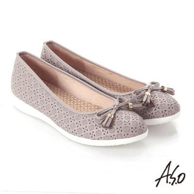 A.S.O 輕量休閒 全真皮壓紋蝴蝶結飾休閒鞋 灰