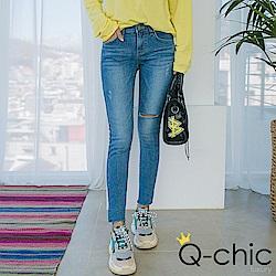 正韓 刷洗色破損窄管牛仔褲 (藍色)-Q-chic