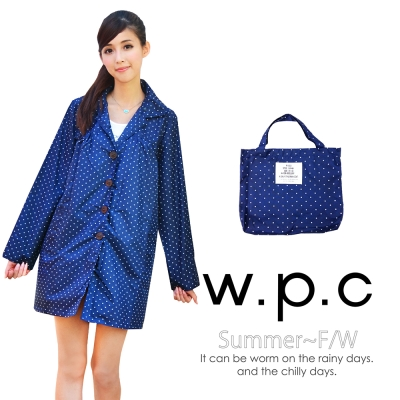 w.p.c. baby style。時尚雨衣/風衣(R1002)_深藍點點