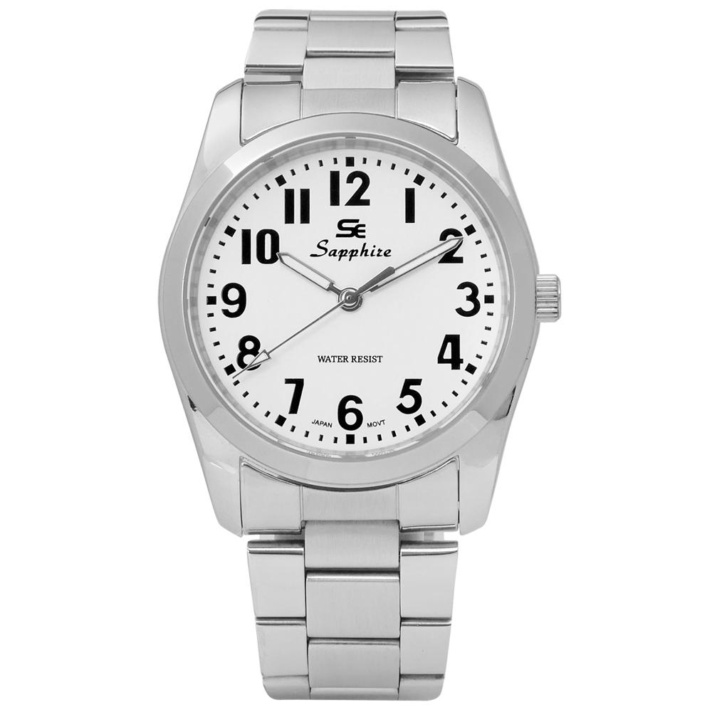 Sapphire 簡潔大方夜光藍寶石水晶不鏽鋼手錶-白色 /35mm