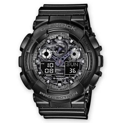 G-SHOCK 超人氣新迷彩軍事戰魂雙顯錶(GA-100CF-1A)-黑/灰/52mm