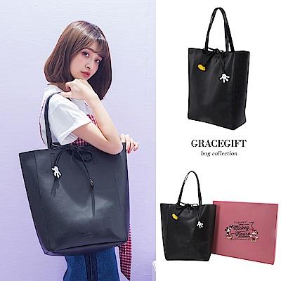 Disney collection by grace gift-米奇造型綁結休閒長托特包