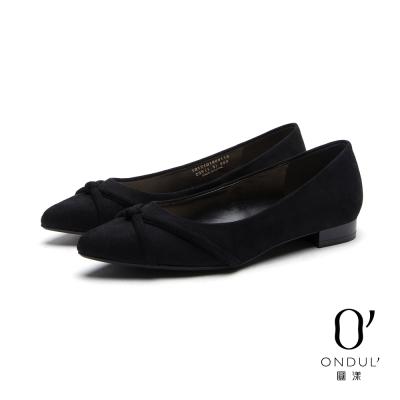 達芙妮x高圓圓-圓漾系列-平底鞋-立體交叉帶絨面尖頭平底鞋-黑
