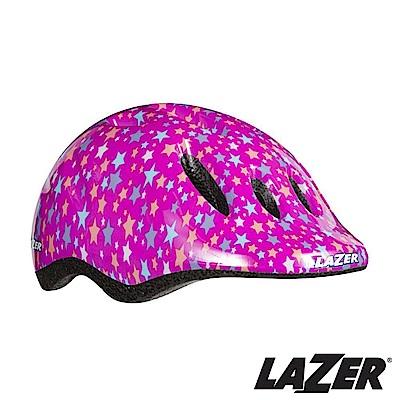 LAZER比利時MAX自行車兒童安全帽49-56cm紫色星星