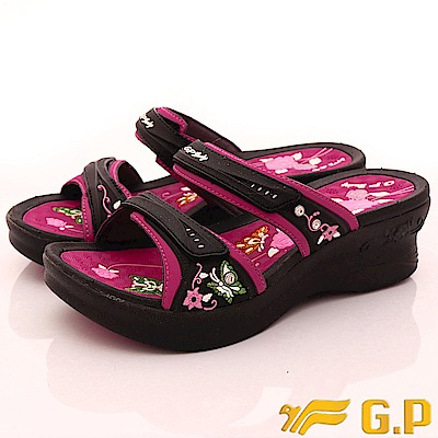 GP時尚涼拖-花漾晶鑽涼鞋款-SE535W-15黑桃(女段)