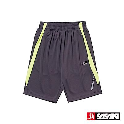 SASAKI 快速排汗伸縮功能針織網球短褲-男-深灰/艷黃