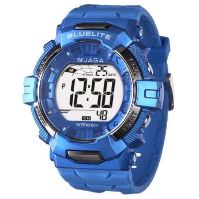 JAGA捷卡 粗礦豪邁多功能電子錶-藍/35mm