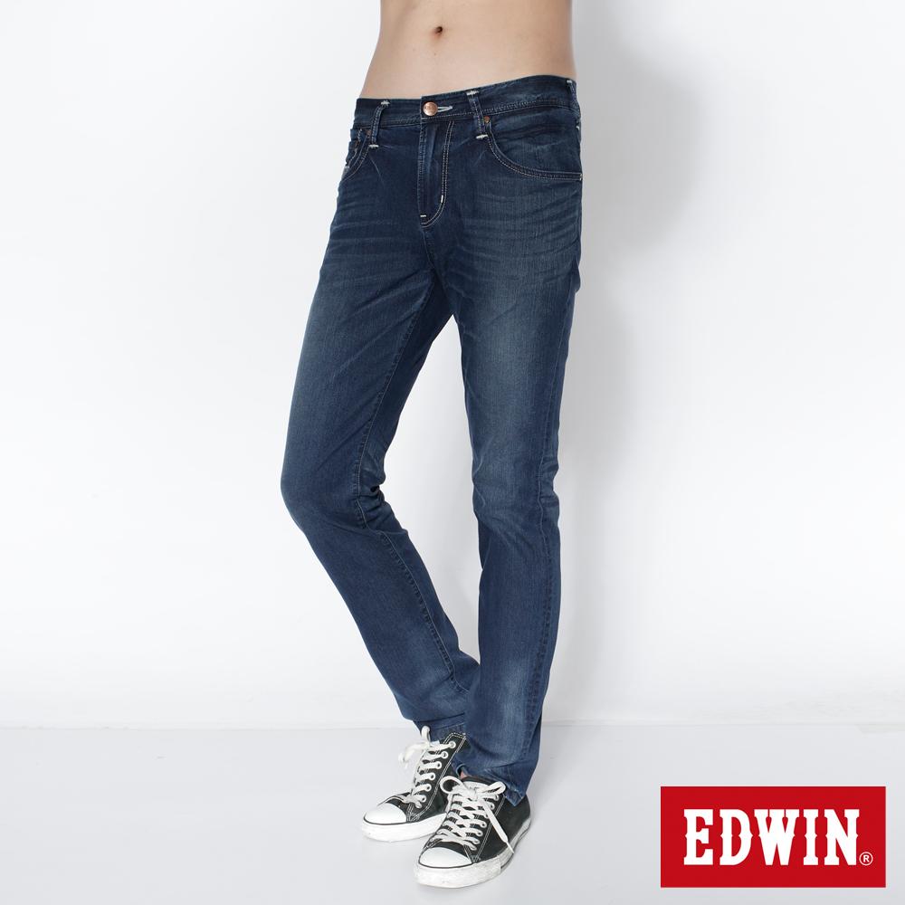 EDWIN 瞬間涼感 B.T COOL 玉纖維窄直筒牛仔褲-男款(中古藍)