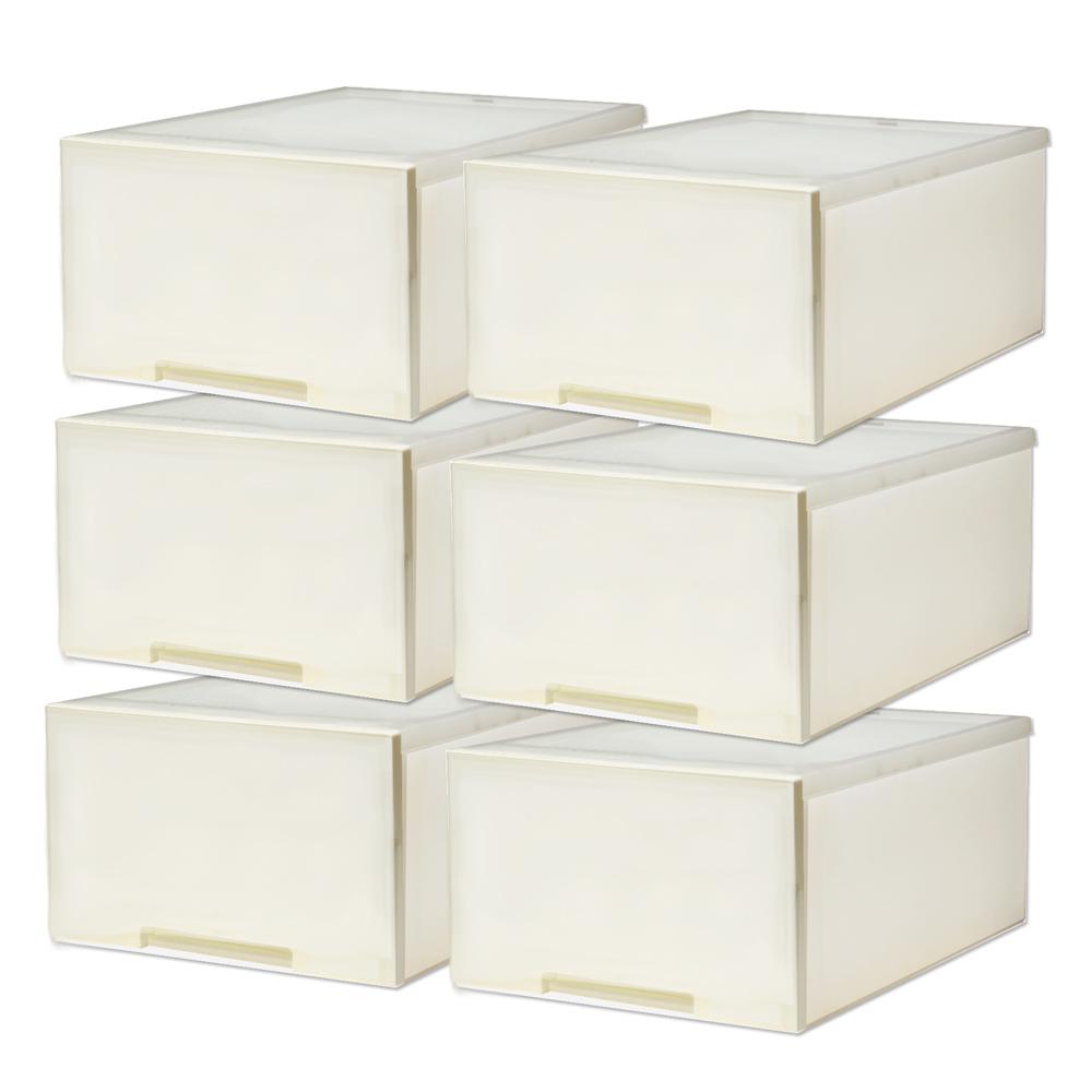[愛收納]簡約雅白-平板單抽整理箱(30L) (六入)