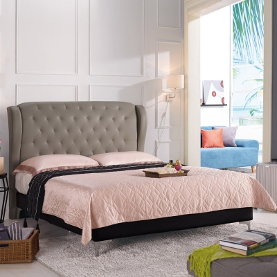 Boden-波麗6尺灰色雙人加大床組(不含床墊)