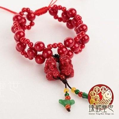 特色紅珊瑚雙貔貅精品手鏈/手鍊