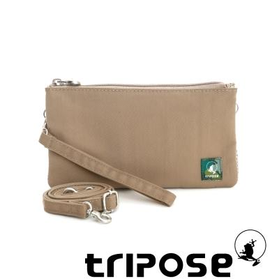 tripose 漫遊系列岩紋簡約微旅手拿/側肩包 駝