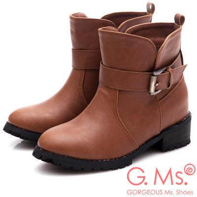 G.Ms. 古銅皮帶釦交疊剪裁造型內增高短靴-淺咖