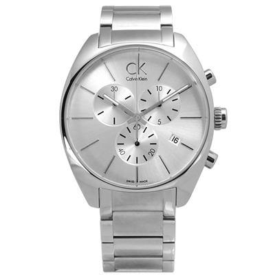 CK 歐美都會大勁三環計時不鏽鋼腕錶-銀色/44mm