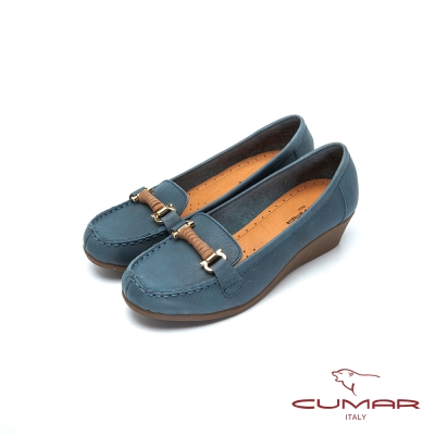 CUMAR舒適嚴選MIT真皮厚底氣墊鞋藍