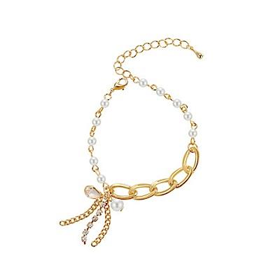 HERA 赫拉 小清新珍珠鏈條水滴水晶水鑽流蘇手鏈(2色)