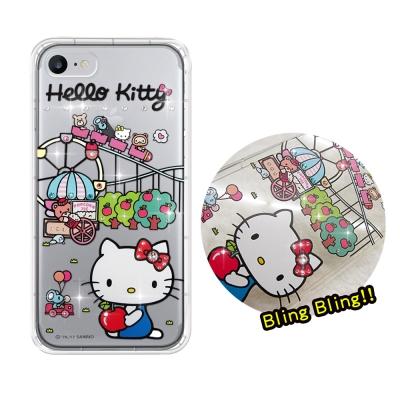 正版凱蒂貓 iPhone 8/iPhone 7 夢幻童話 彩鑽氣墊手機殼(遊樂園...