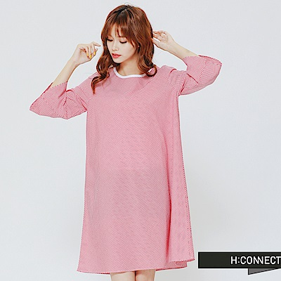 H:CONNECT 韓國品牌 女裝-小清新細格紋寬袖洋裝-紅 - 動態show