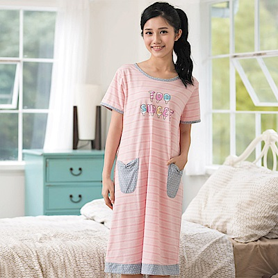 華歌爾Pretty Amy 夏日樂趣條紋 M-L 短袖裙裝家居服(粉)