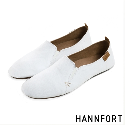 HANNFORT FLEX360極簡素面折疊樂福鞋-女-簡約白
